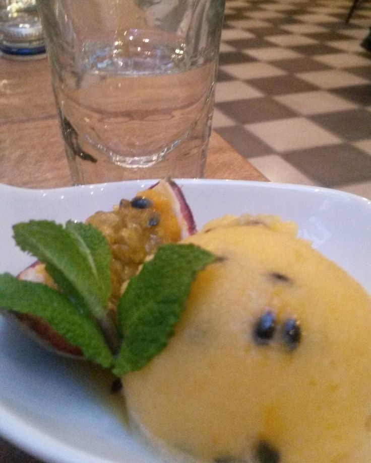 A shot of #Grappa with granadilla sorbet to cleanse the palette.