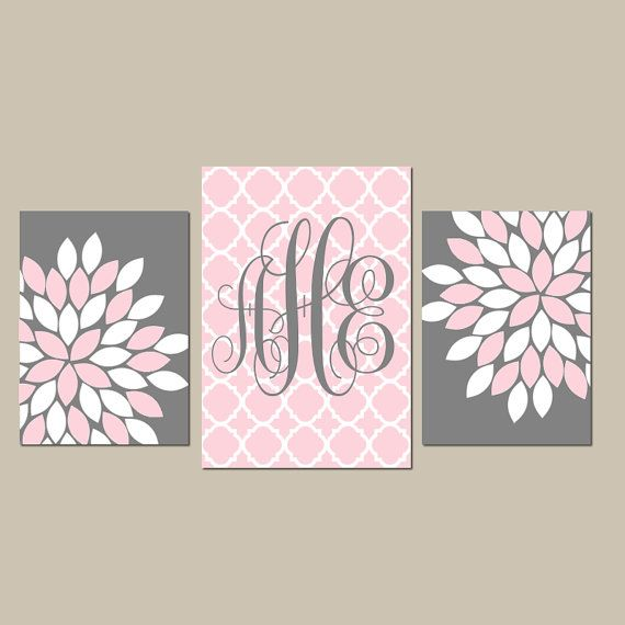 Monogram Wall Art Baby Girl Nursery CANVAS or Prints by TRMdesign