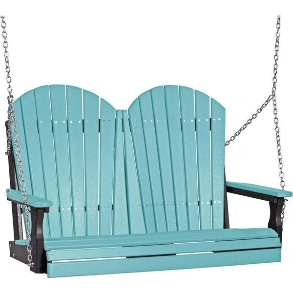 LuxCraft 4' Adirondack Poly Swing ($479) ❤ liked on Polyvore featuring home, outdoors, patio furniture, hammocks & swings, garden swing, outdoor swing and outside swing