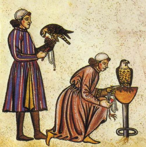 13th century men's tunic from the book Falconry Book of Frederick II. Image source ~ wikipedia. -Split front