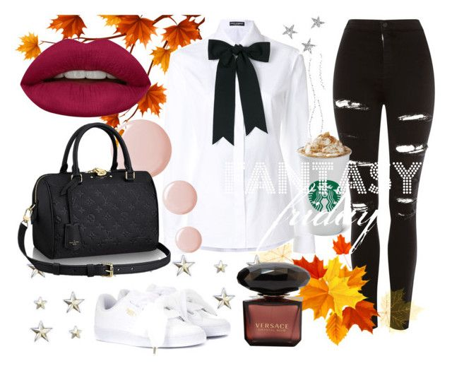 """Autumn fantasy outfit"" by meikkibeibi on Polyvore featuring Topshop, Puma, Dolce&Gabbana and Huda Beauty"