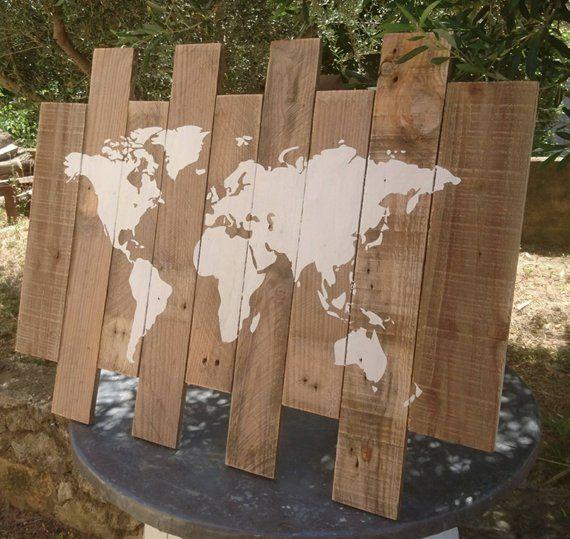 Tableau carte du monde bois, mappemonde palette, carte du monde sur bois, décoration intérieure, planisphère
