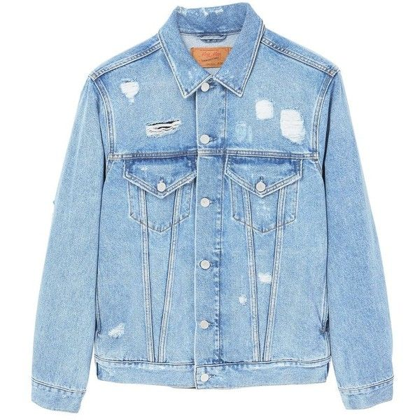 Decorative Rips Denim Jacket (€57) ❤ liked on Polyvore featuring outerwear, jackets, collar jacket, long sleeve denim jacket, distressed denim jacket, blue jackets and embellished jean jacket