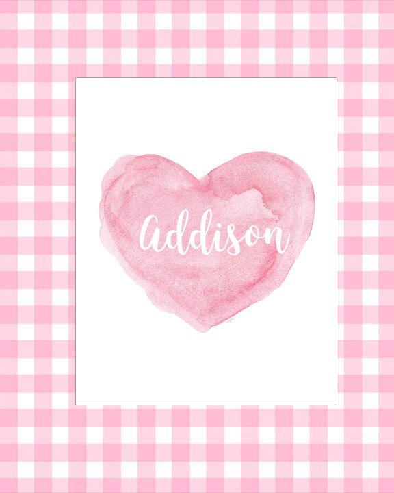 New Baby Girl, Pink Baby Gift, Baby Girl Gift, Newborn Girl Gift, Pink Nursery Print, 8x10 Personalized Print, Gift for New Mom, Pink Heart by OutsideInArtStudio on Etsy