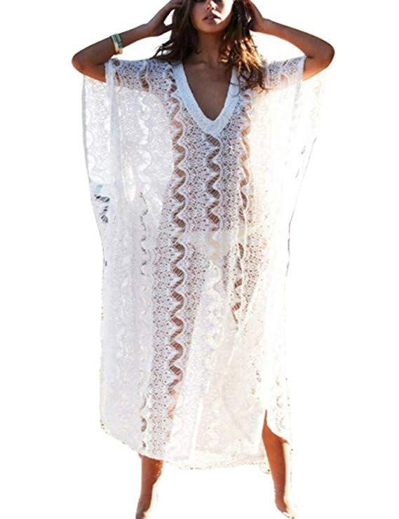 c7b00d13bd4 Bsubseach Women Bathing Suits Cover Up Ethnic Print Kaftan Beach Maxi Dress