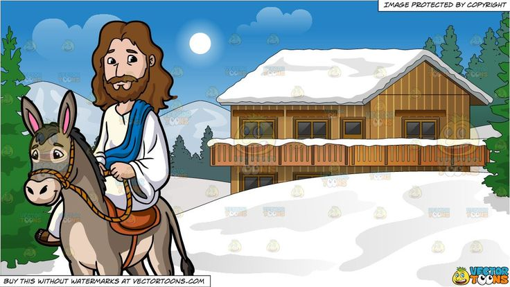 #clipart #cartoon Jesus Riding A Donkey and Snow Covered ...