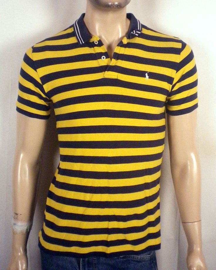 euc Polo Ralph Lauren navy blue/yellow Polo Shirt white pony SZ S youth L #PoloRalphLauren #PoloRugby