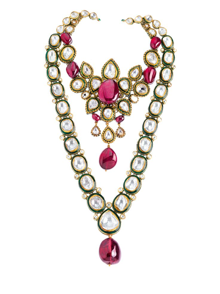 'Flower Series' diamonds and rubellites set in 22K gold necklace