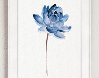 Lotus Set Of 2 Watercolor Painting Blue Water Flowers Canvas Art