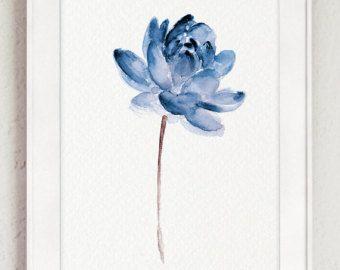 Lotus Set 2 Aquarell blaues Wasser Blumen von ColorWatercolor