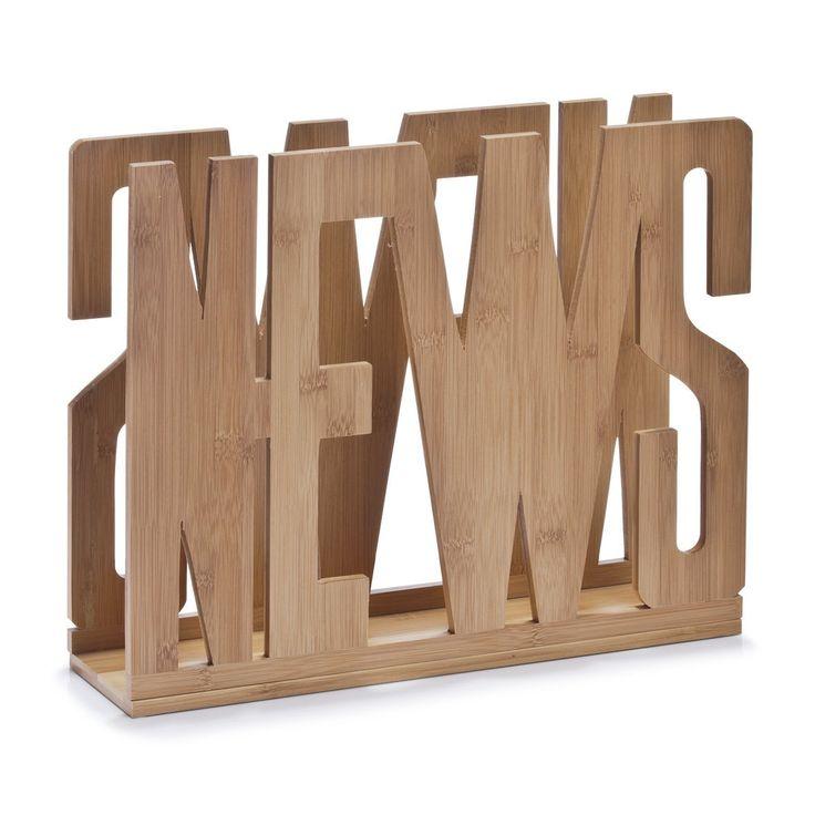 """Zeller 13577 - Revistero con diseño """"News"""", """"noticias"""", 42 x 11 x 33 cm, bambú, color natural: Amazon.es: Hogar"""