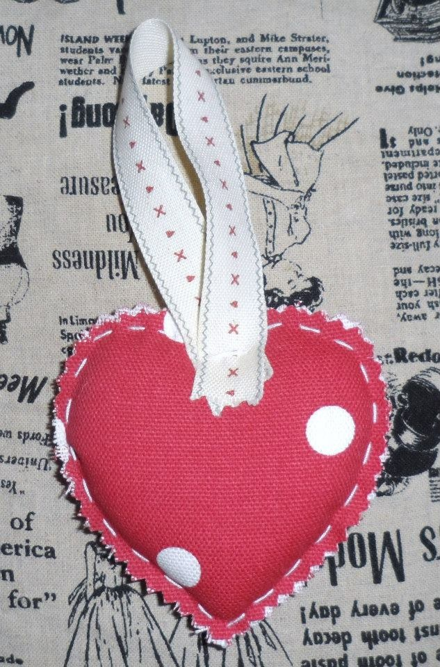 Red dotty cotton with East of India ribbon