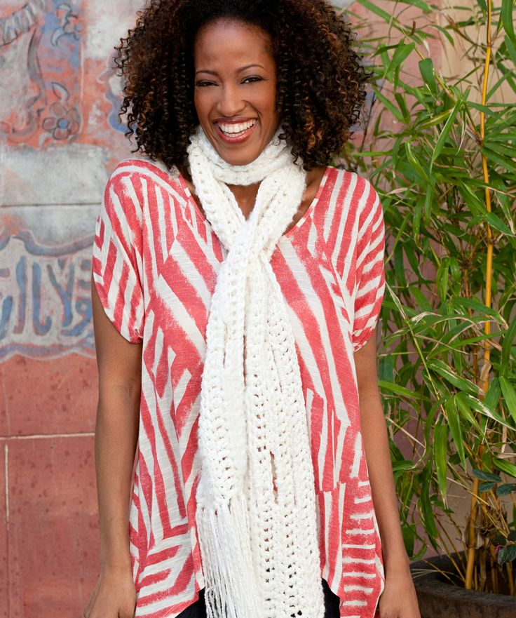 Easy Wrap Comfort Scarf: Everyone loves the big slits in this scarf.  They allow you to slip the scarf end through in a variety of ways. This free pattern was designed by Double Stitch Twins, and is available at RedHeart.: Free Pattern, Comfort Scarf, Red Heart, Wrap Comfort, Scarf Crochet, Scarfs, Crochet Patterns, Wraps