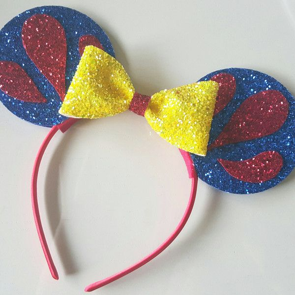 Glittery Snow White Minnie Mouse Ears Headband Minnie Mouse Birthday... ($28) ❤ liked on Polyvore featuring accessories, hair accessories, barrettes & clips, silver, silver sparkly headbands, silver hair clips, sparkly hair clips, hair clip accessories and silver hair accessories