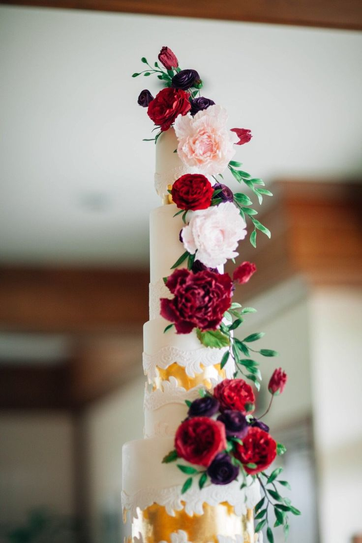 Jewel Tone Lace Sugar Flower Wedding Cake