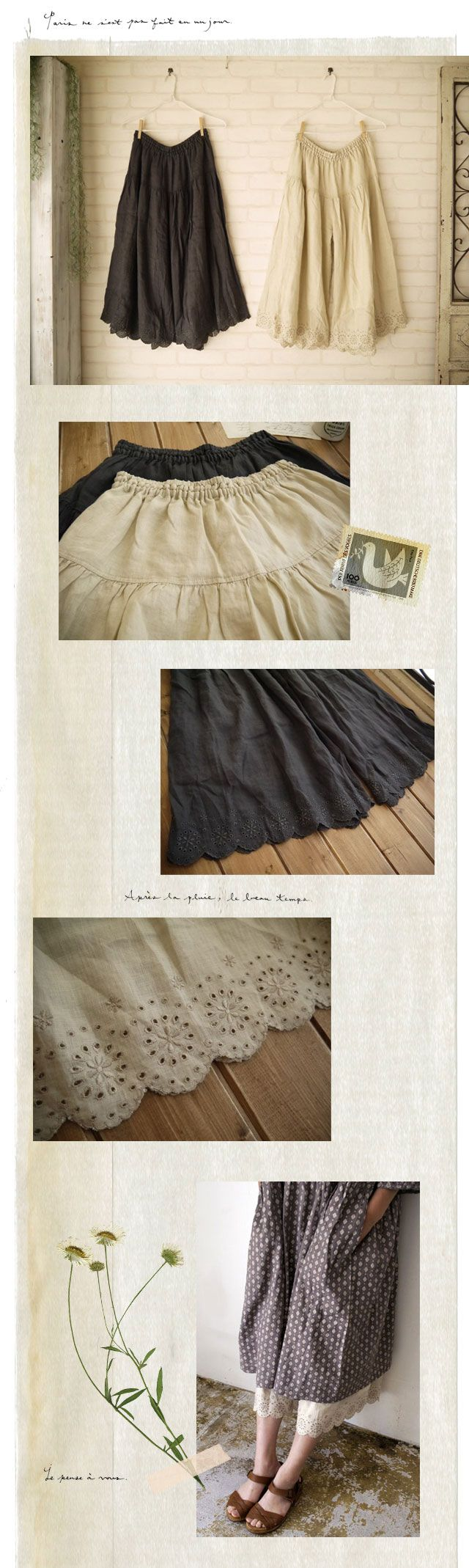 armoire linen scalloped embroidery culottes Melody House japan fashion mori kei
