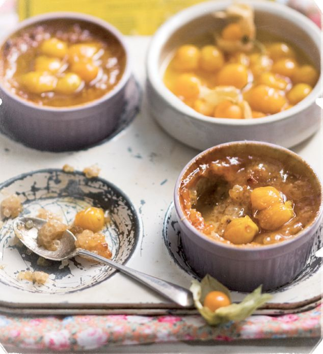 Sago pudding with stewed gooseberries
