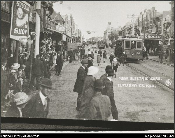New electric cars, Elsternwick, Victoria, 1913 [picture].