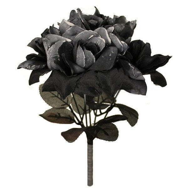 BLACK ROSE BOUQUET FANCY DRESS ACCESSORY GOTHIC BLACK FLOWER ROSE... ❤ liked on Polyvore featuring costumes, rose halloween costume, flower costume, goth halloween costumes, ghost bride halloween costume and bride costume
