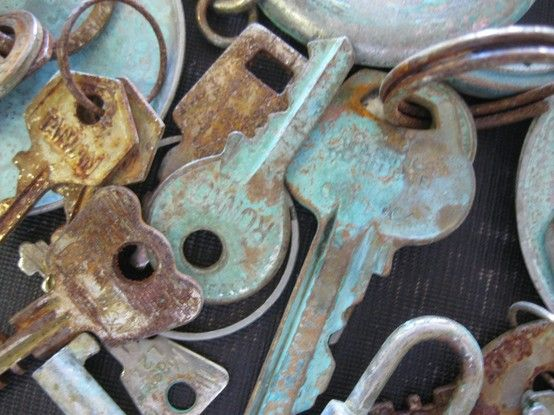 How to age, and add a patina or rust to small metal items. Fill a plastic or glass container half full of vinegar, and sprinkle in approximately 1tsp salt. Drop in keys, clips, hinges, watch parts, locks... any metal you want to 'age'. Leave soaking overnight. Repeat the process if desired. Given enough time and exposure almost all metal will age beautifully.