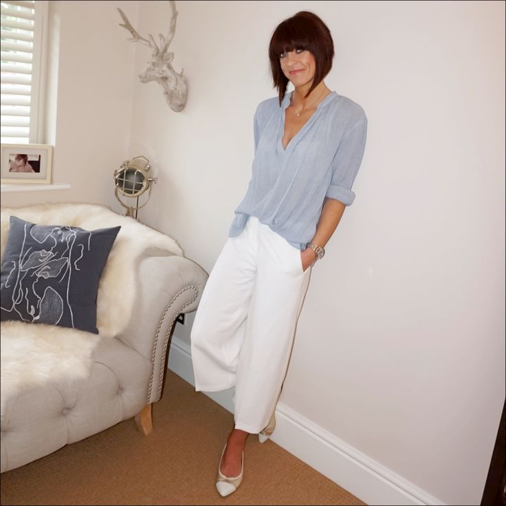 Stripe boho top teamed with cream cropped culottes & metallic ballet pumps