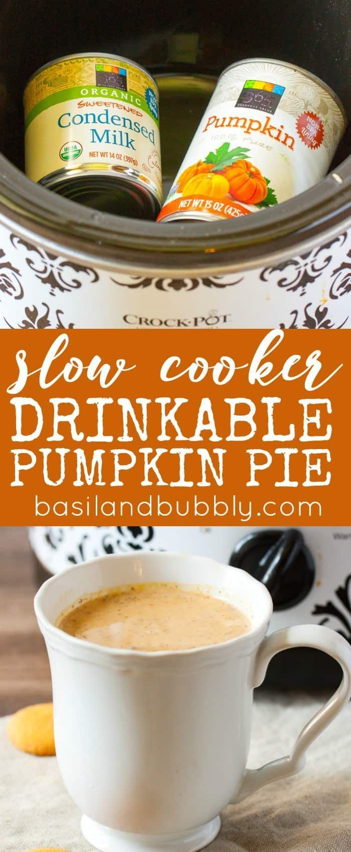 Like a pumpkin spice version of hot cocoa, without the chocolate! Slow cooker drinkable pumpkin pie can be made and served in your crock pot for your next party. I love this easy to make hot pumpkin holiday drink and can't wait to make it at Thanksgiving