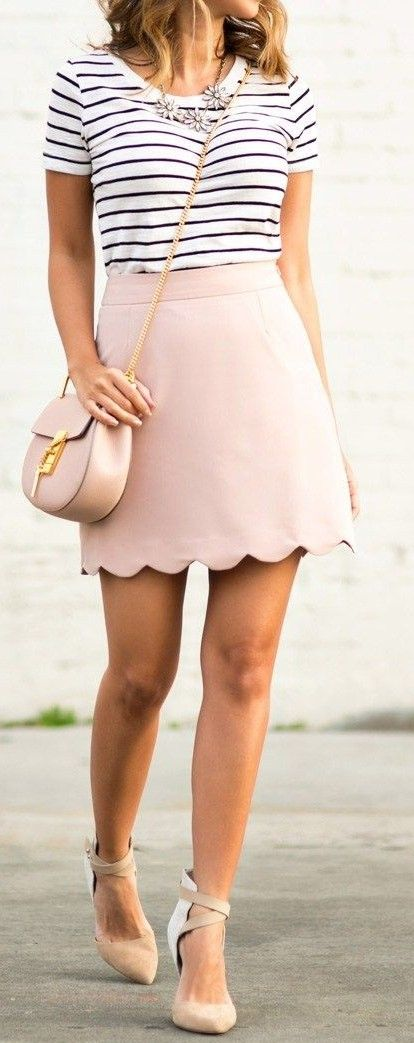 #summer #musthave #outfits | Stripe Top + Blush Scallop Mini Skirt