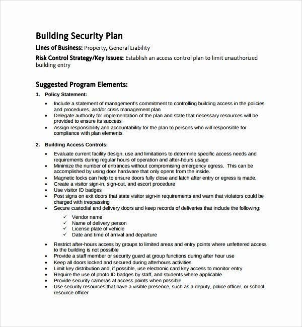 30 Facility Security Plan Template In 2020 Event Planning