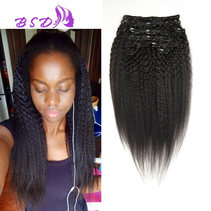 Natural Kinky Coarse Clip In Human Hair Extensions Brazilian Hair Afro Kinky Straight Clip In Hair Extension Soft Kinky Straight