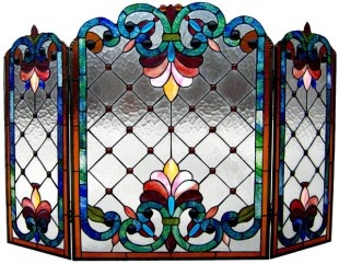 Tiffany Style Victorian fireplace screen that would look beautiful in front of our fireplace