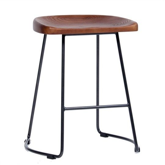 Tahoe Commercial Grade Solid Ash Timber & Steel 50cm Bar Stool - Walnut/Charcoal