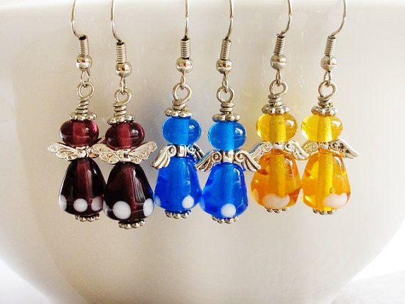 Angel Earrings Topaz Purple Blue Lampwork by GlassHouseLampwork