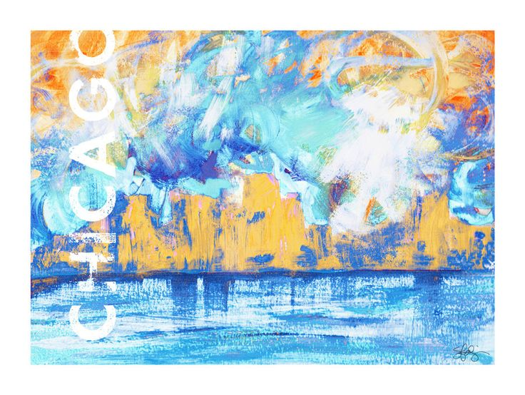 Downtown Chicago City Skyline Abstract Urban City Art Prints - 4 Color Variations to Choose From! Office Decor, Wall Decor, Chicago Gifts by UnAfraidyCat on Etsy