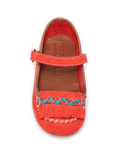 LEATHER BALLERINA WITH FRINGES - Shoes - ZARA United States