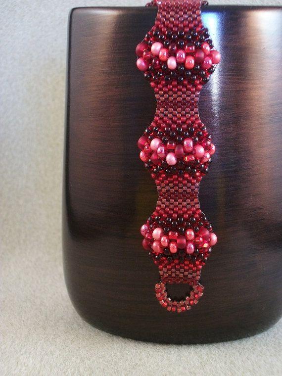 Red Peyote Stitch Medallion Bracelet via Etsy