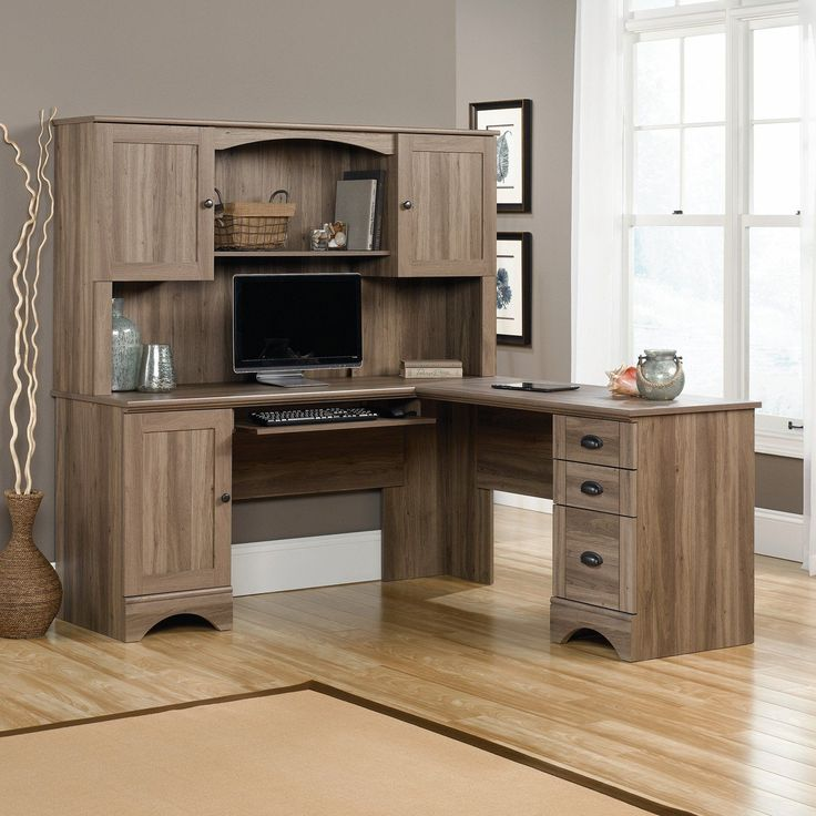 computer desk hutch corner desks office max with storage l shaped black and cherry