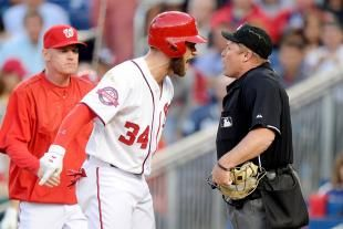 Bryce Harper and Manager Matt Williams Ejected After Harper Steps Out of Box.  40,000 fans didn't pay to watch an ump make a terrible call.  I agree.