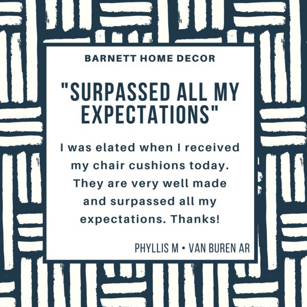 """""""Surpassed all my expectations. I was elated when I received my chair cushions today. They are very well made. Thanks!"""" A testimonial by Phyllis M of Van Buren AR on our Ticking Stripe Navy Blue Dining Chair Pads  #testimonial #madeinusa"""