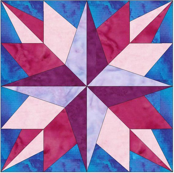 Guiding Star Quilt 15 Inch Block Paper Template Quilting Block Pattern Pdf Quilt Block Patterns 12 Inch Painted Barn Quilts Barn Quilt Patterns