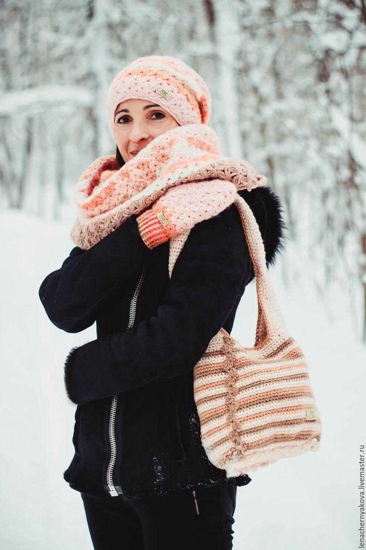 """Купить Сумка-бохо вязанная полосатая бежевая """"Колдовская """" - бежевый, в полоску, бохо сумка"""