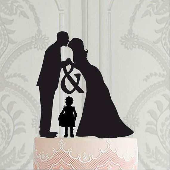 Family Wedding Cake Topper With Toddler Girl Bridal Cake Topper Cake Topper Silh Bride And Groom Silhouette Wedding Cake Toppers Family Wedding Cake Toppers