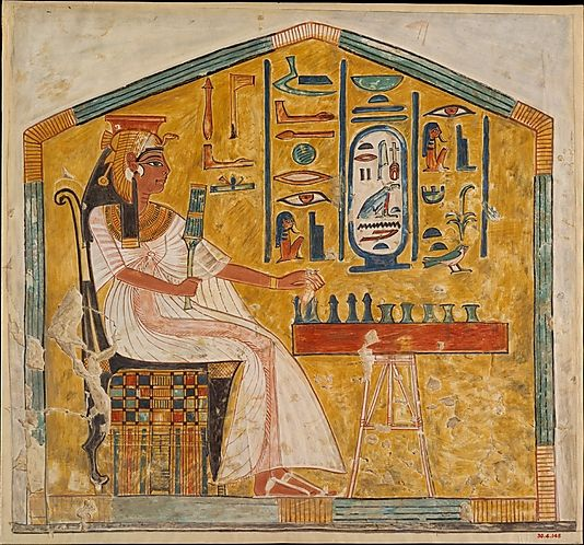 Queen Nefertari Playing Senet, A wall painting in the tomb of Queen Nefertari, the wife of the 19th dynasty pharoah Ramses II, depicts the queen playing senet, an ancient board game similar to chess. Valley of the Queens, Egypt