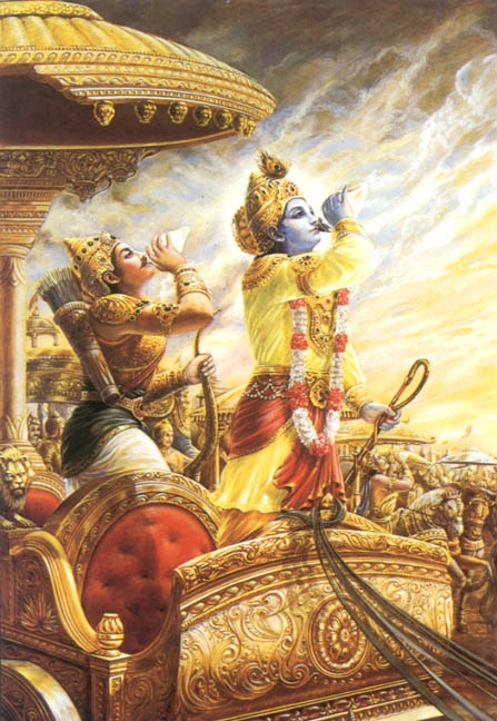 Krishna and Arjuna in the battlefield of kurukshetra
