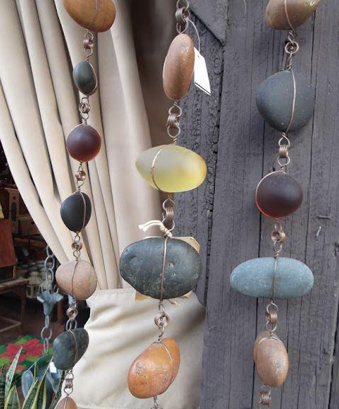 Rain Chains    Blue glass and Mexican Beach Stone???