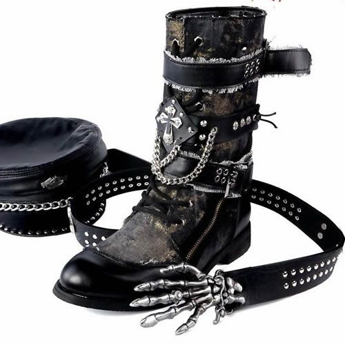 Mens Designer Black Goth Punk Fashion Battle Cowboy High Boots     what would you wear this with?