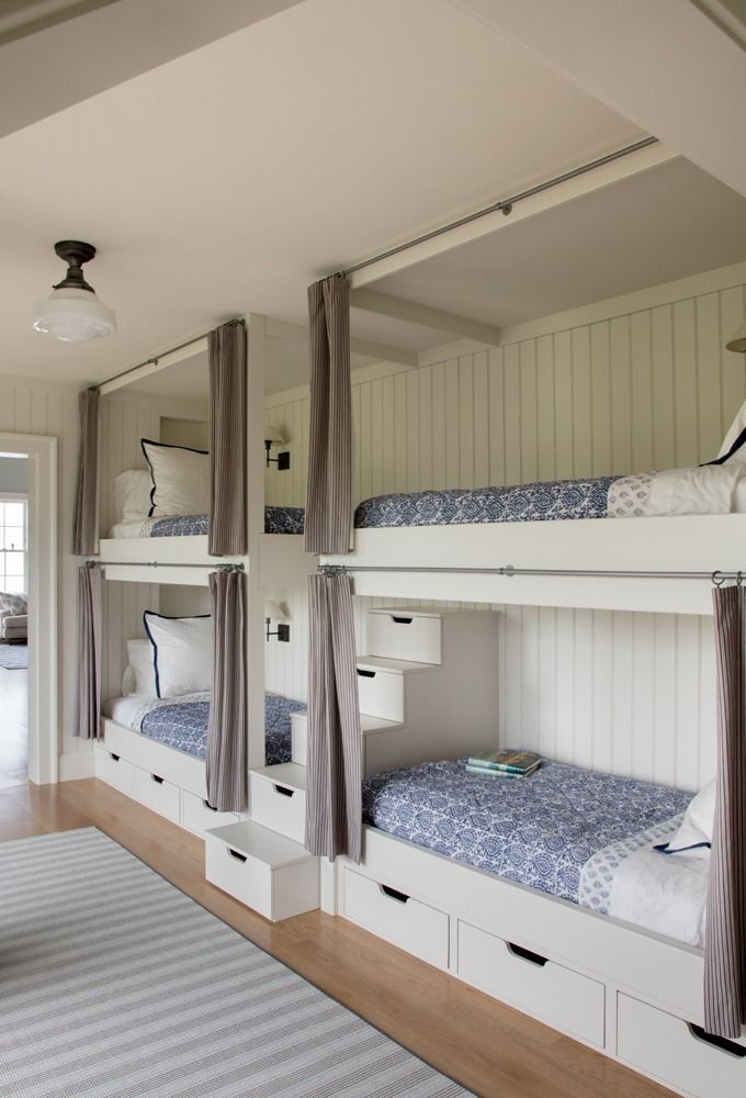 Custom Bunk Room With White Built In Bunk Beds Set Of 2 Bunk