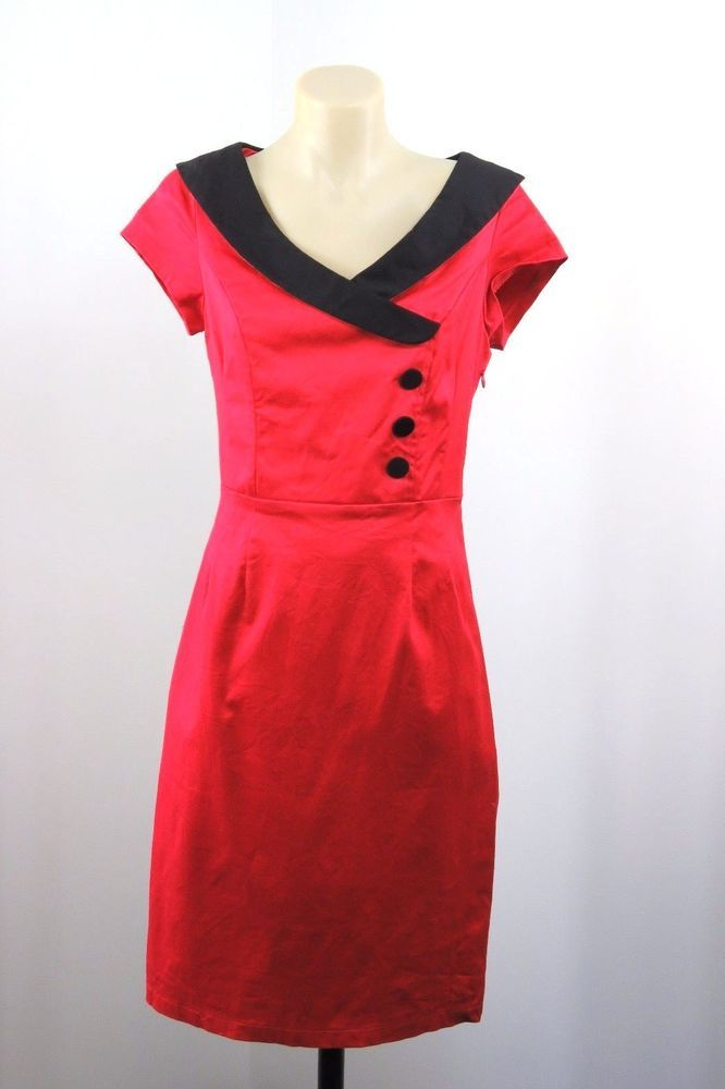 Size S 10 Revival Dangerfield Ladies Red Dress Retro Pinup Rockabilly Design #Revival #TeaDress #Casual