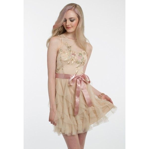 Embroidered Ribbon Belt Corkscrew Dress ❤ liked on Polyvore featuring dresses, gold cocktail dress, short cocktail dresses, gold formal dresses, formal evening dresses and short formal dresses