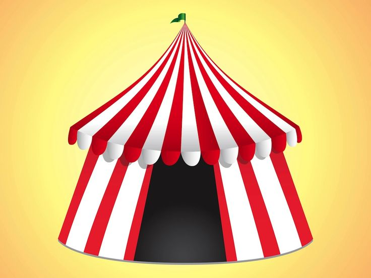 Entertainment vector graphics of a colorful circus tent. Striped tent with realistic shadows and gradients on the colorful fabric. Darkness inside the tent and a waving flag on top. Free vector illustration for all circus, entertainment, kids and spare time projects. Colorful image for logos, icons and sticker projects. Circus Vector by M Burke