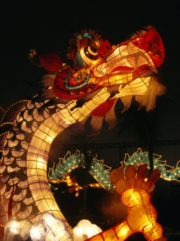 Dragon Lights at the Star Ferry Terminal on Chinese Takeover, Hong Kong, China, Asia